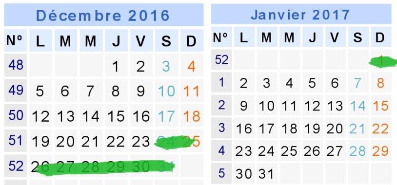 calendrier 2016 2017